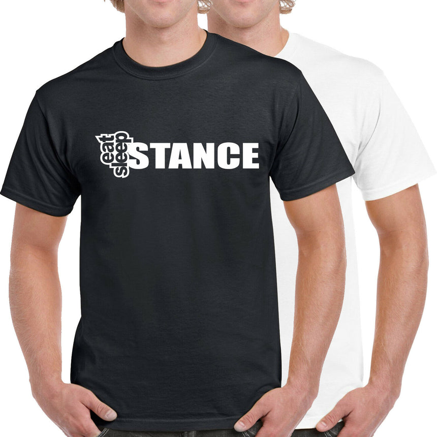 Eat Sleep Stance Outline Silhouette Logo 100% Cotton Crew Neck T-shirt (51 colour choices)