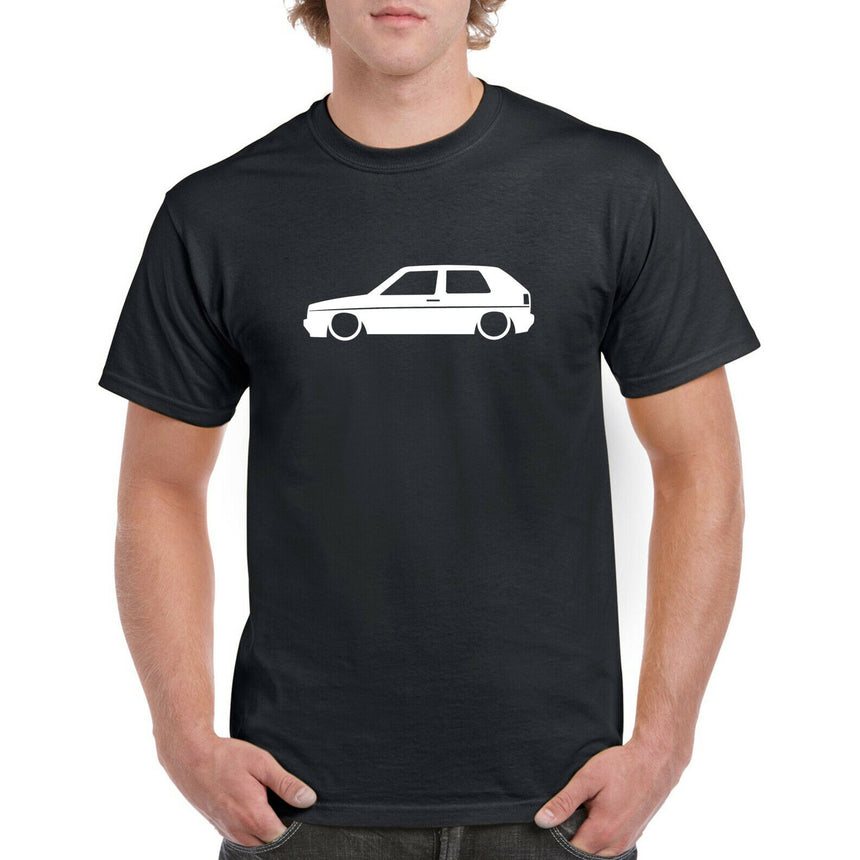 Golf MK2 Big Bumper Outline Silhouette Logo 100% Cotton Crew Neck T-shirt (51 colour choices)