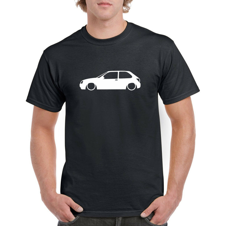 Ford Fiesta MK5 Zetec s Outline Silhouette Logo 100% Cotton Crew Neck T-shirt (51 colour choices)