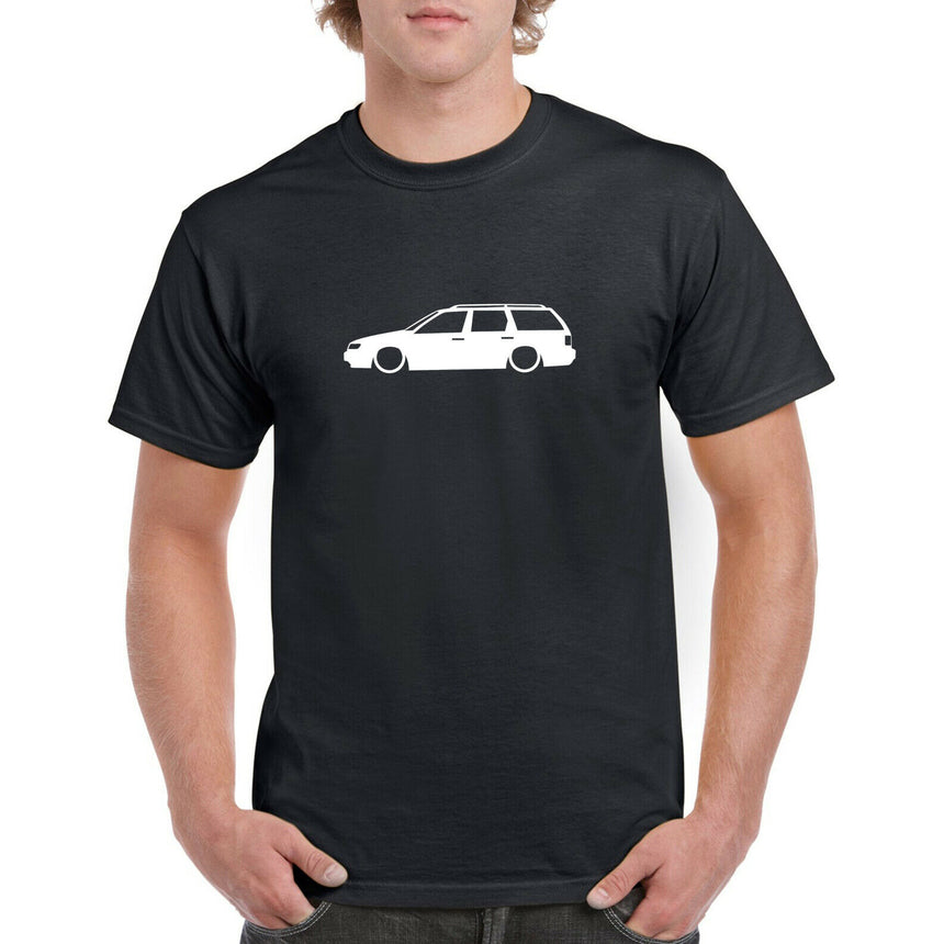 VW Passat B4 Estate Outline Silhouette Logo 100% Cotton Crew Neck T-shirt (51 colour choices)