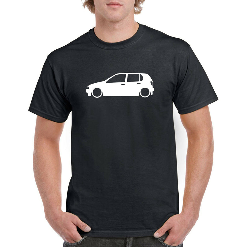 VW Polo 6n Coupe Outline Silhouette Logo 100% Cotton Crew Neck T-shirt (51 colour choices)