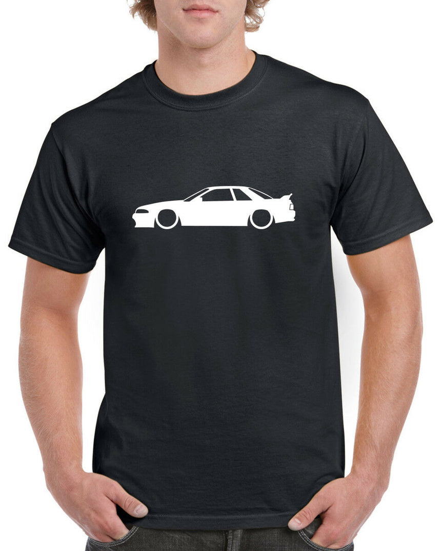 Nissan Skyline R32 Outline Silhouette Logo 100% Cotton Crew Neck T-shirt (51 colour choices)