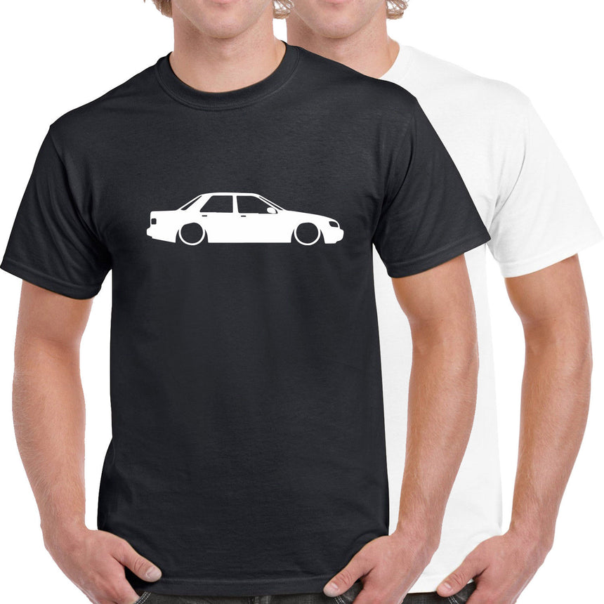 Ford Sierra Saphire Outline Silhouette Logo 100% Cotton Crew Neck T-shirt (51 colour choices)