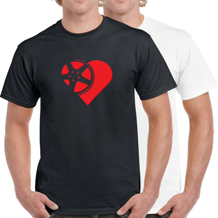 Wheel / Rim Love Heart Logo 100% Cotton Crew Neck T-shirt (51 colour choices)