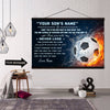 (CT220) Soccer canvas with the wood frame - never lose - custom
