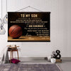 (CV716)BASKETBALL CANVAS WITH THE WOOD FRAME - MOM TO SON