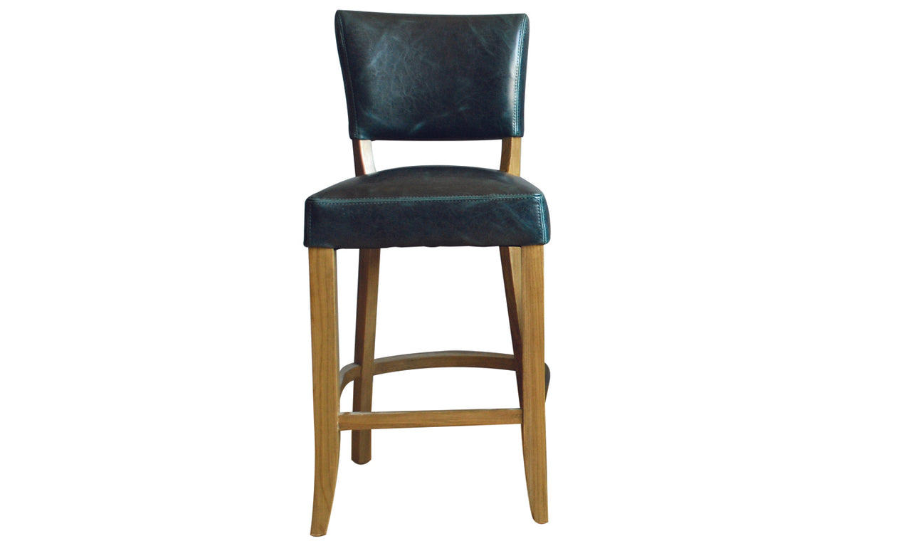 Duke Bar Chair Leather - Ink Blue