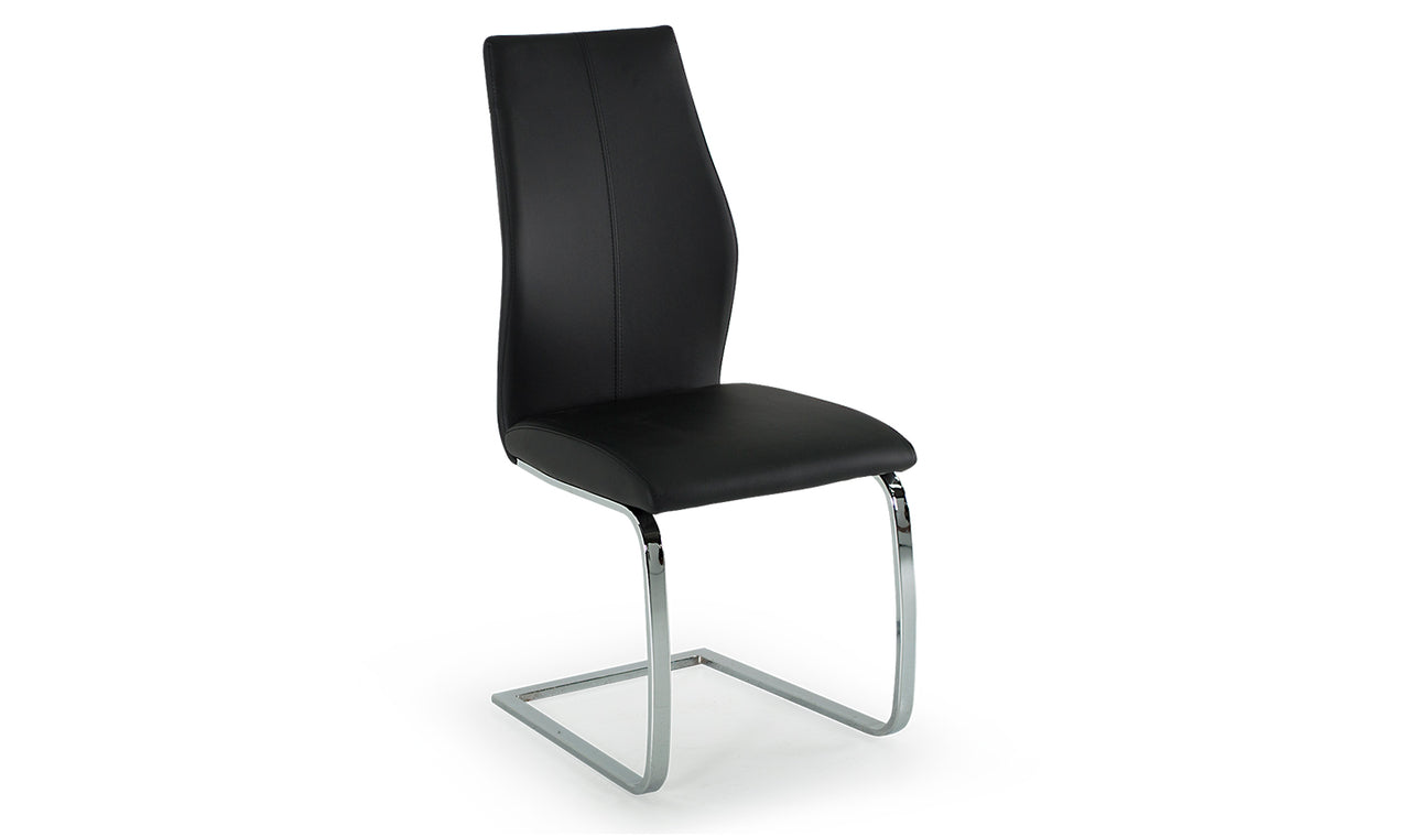 Elis Dining Chair - Chrome Leg Black (2/Box)