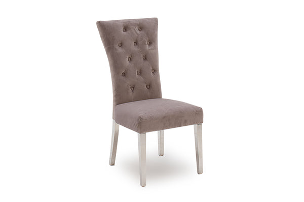 Pembroke Dining Chair - Polished Stainless Steel Taupe