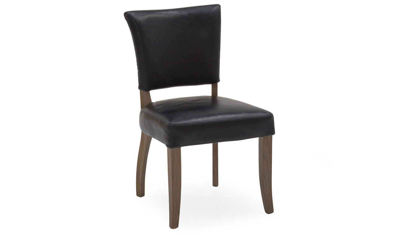 Duke Dining Chair Leather - Ink Blue