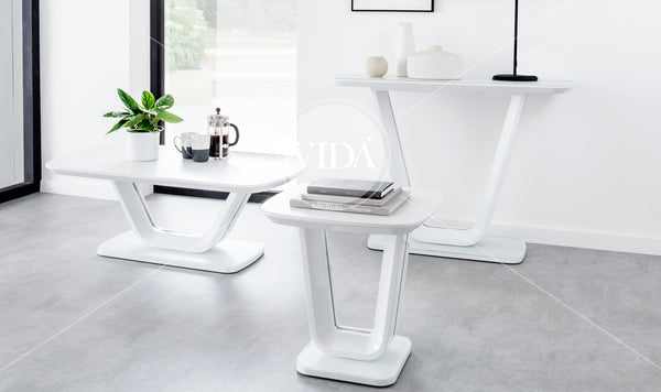 Lazzaro Lamp Table - White Gloss 500 (Nett)