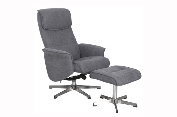 Rayna 1 Seater Recliner with Footstool - Grey