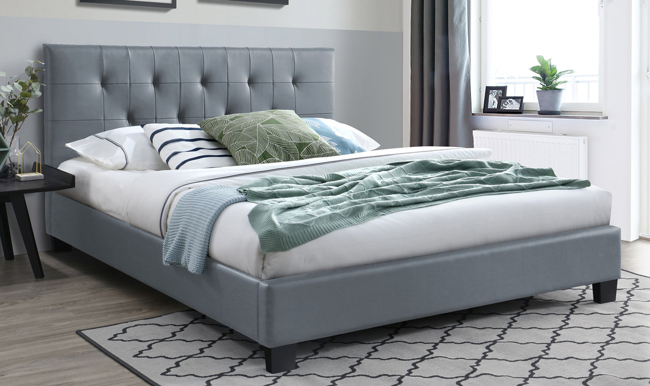 Piper Bed - 4'6 Bed - Grey PU (NR)