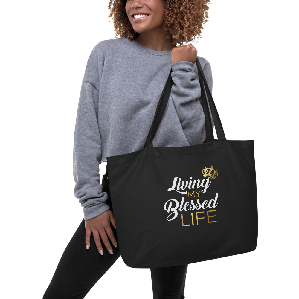 Large Organic Tote Bag ( Blessed Life)