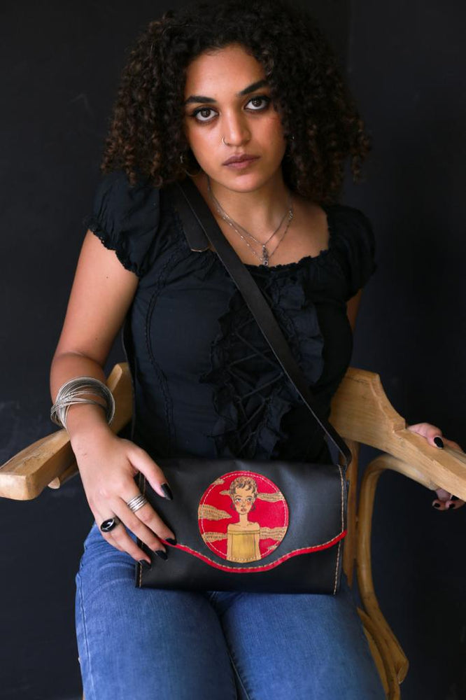 Leather cross bag black