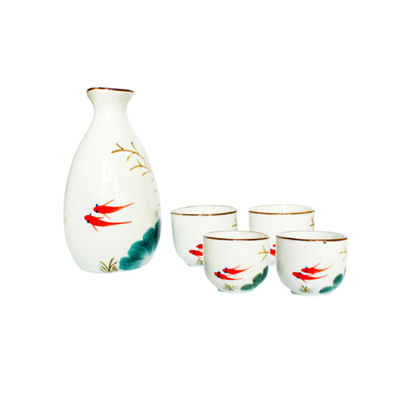 Sake Set in Box: Fish and Lotus Leaf