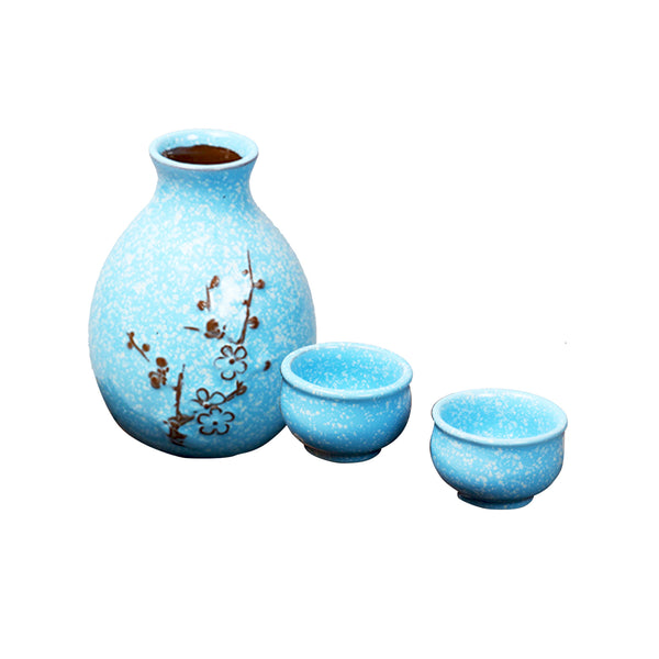 Sake Set in Box: Traditional Blue Plum Flower
