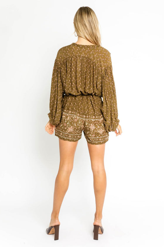 Boho Bubble Sleeve Romper