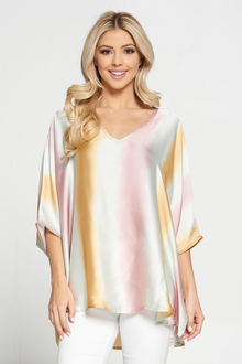 Satin Ombre V-Neck