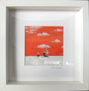 Glass Framed Original Seascape - Orange Sky