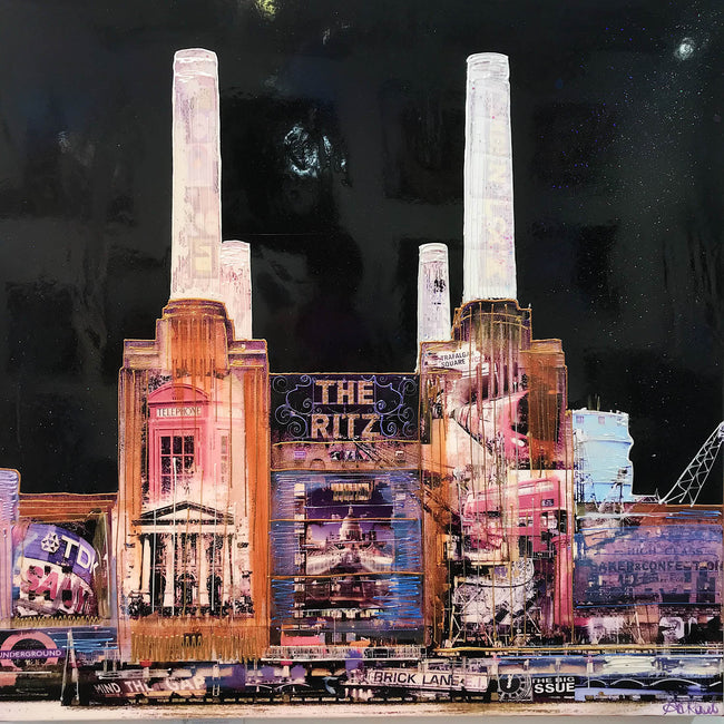 Midnight Battersea Mixed Media Original Art