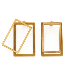 Rectangle ear jacket earrings in silver 925 or brass, gold-plated or platinum-plated that can be worn in more than one configuration. Wear these two dimensional front and back earrings in the front of the ear for a classy statement, wear just the front geometric stud earrings for a minimal look or add the back earrings for a special and unique look