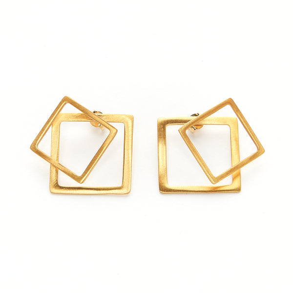 Square ear jacket earrings