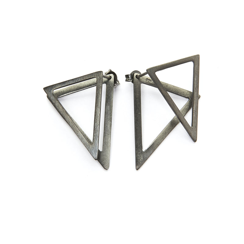 Triangle ear jacket earrings