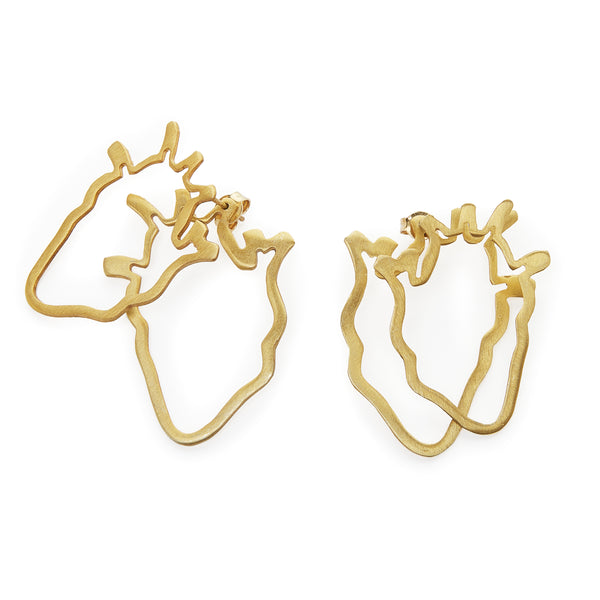 Anatomical Heart ear jacket earrings