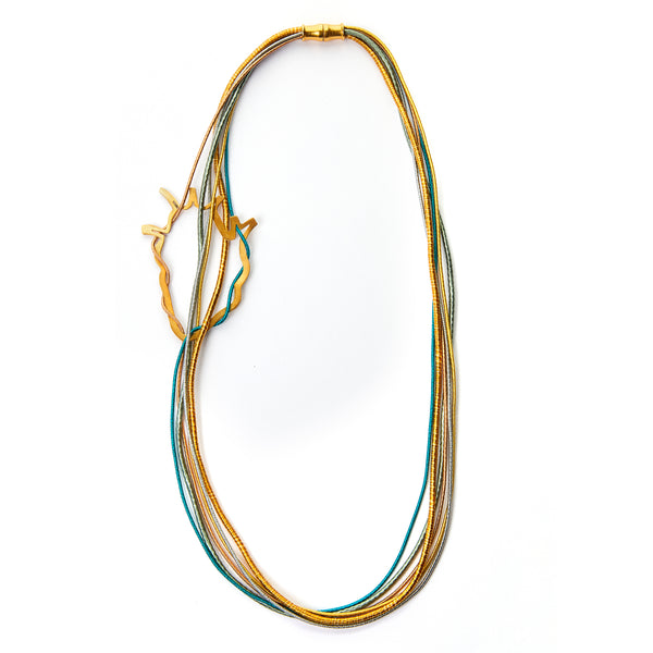 Anatomical Heart Multi Strand Necklace (Turquoise)