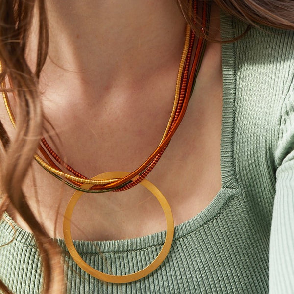 Circle Multi Strand Necklace (Earthy)