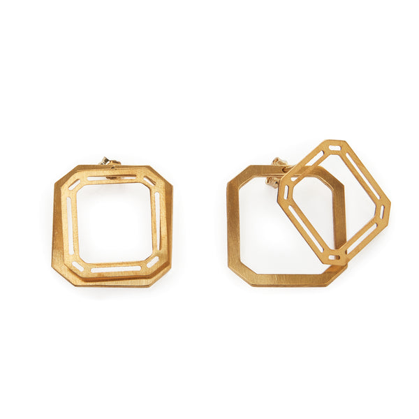 Square Gem ear jacket earrings