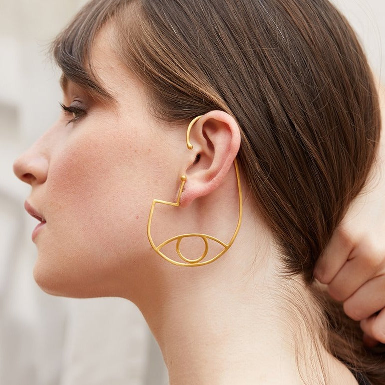 Eye Ear Cuff Single Earring Brass