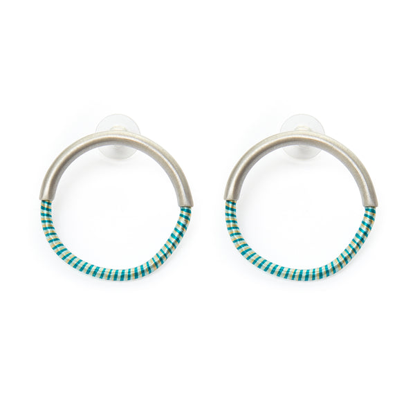 50/50 circle stud earrings L