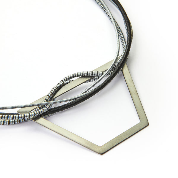 B&W Trapezoid Bib Necklace