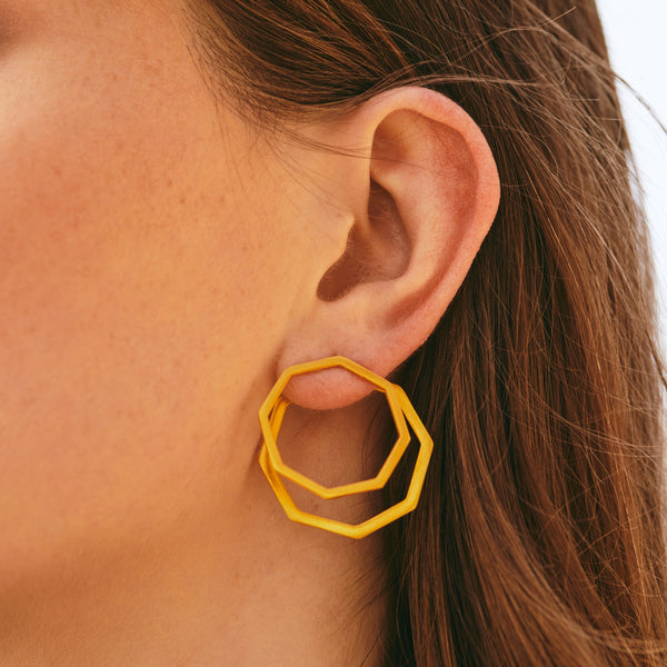 Polygon ear jacket earrings