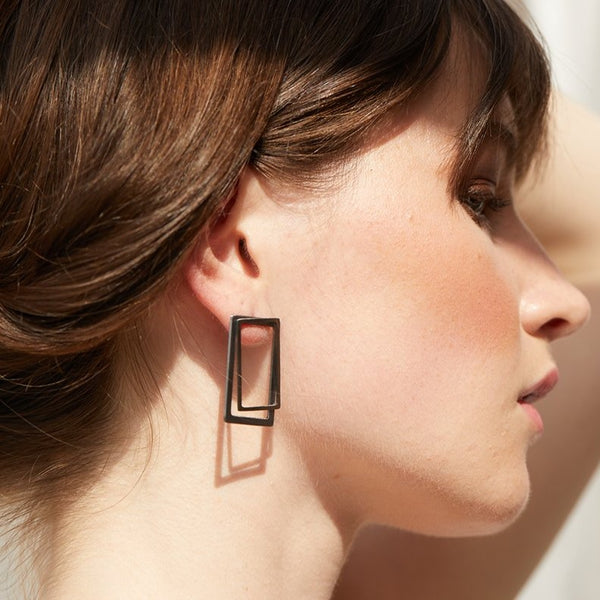 Rectangle ear jacket earrings