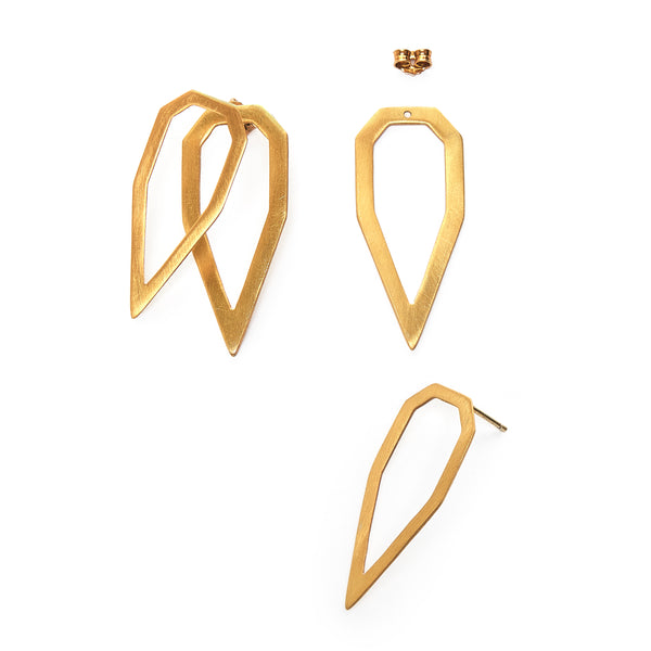 Tear Gem Outline ear jacket earrings