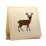 Full Stag Tweed Fabric Greeting / Birthday Card