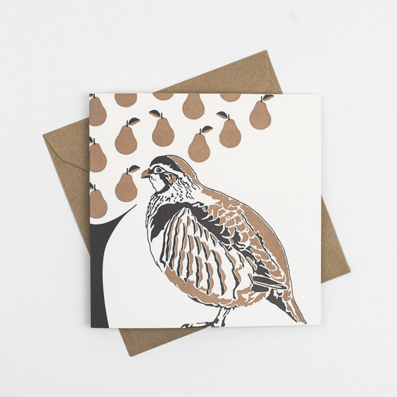 Partridge In A Pear Tree Hand Letterpress Christmas Card