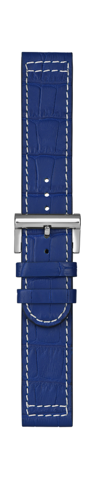 Leather strap blue croco structure