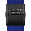 Rubber strap blue (with black steel folding clasp)