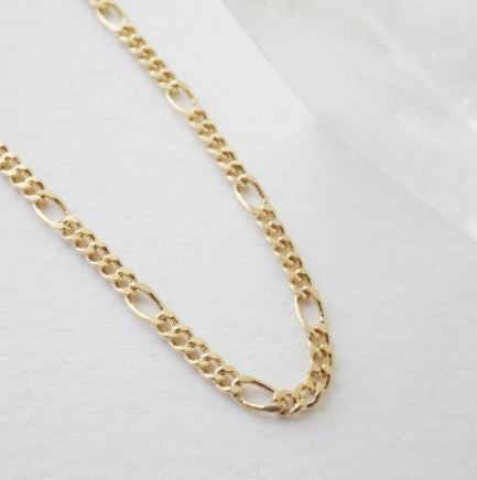 18k Gold Dipped Figaro Chain Choker-Necklace