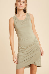 Side Ruched Mini Dress - Light Olive