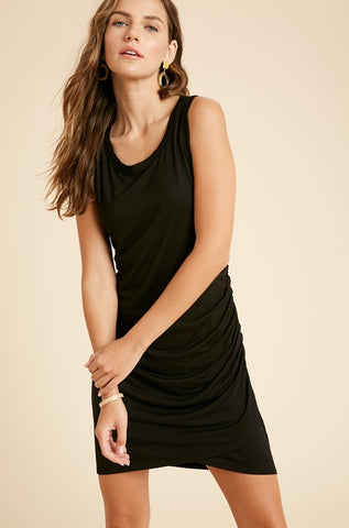Side Ruched Mini Dress - Black