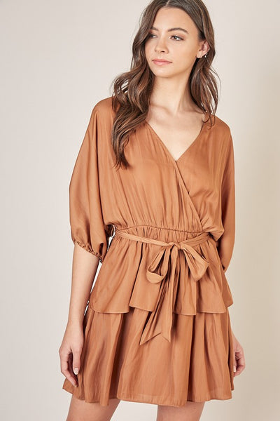 Surplice Peplum Dress - Caramel
