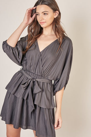 Surplice Peplum Dress - Charcoal