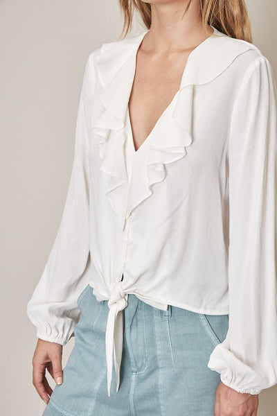 Front Tie Top - White
