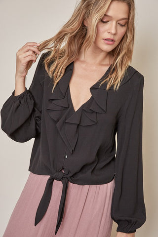Front Tie Top - Black