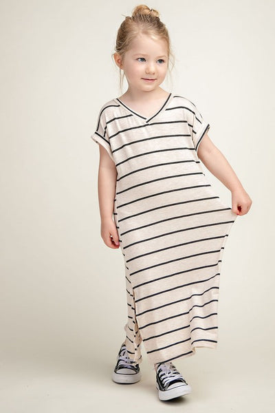 Striped Maxi Dress - Oatmeal